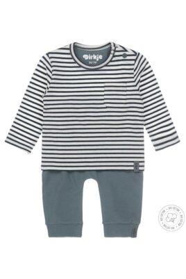 Dirkje Zweiteiliges Babyset Jogginganzug mit Sweathose & gestreiften Rundhalsshirt mit Tasche & Druckknöpfen mehrfarbig – Vorderansicht