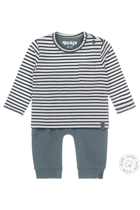 Babyset zweiteilig mit gestreiftem Langarmshirt mit Tasche & grüner Sweathose aus OEKO-TEX Bio Baumwoll Mix von Dirkje - Vorderansicht