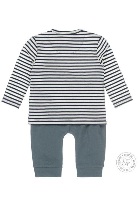 Baby Jogginganzug Sweatanzug zweiteilig mit gestreiftem Langarmshirt & Sweathose Leggings für Jungen - mehrfarbig von Dirkje - Rückansicht