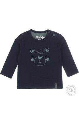 Dirkje Babyshirt Langarm Sweatshirt aus Bio-Baumwolle mit Bären-Print & Druckknöpfen in navy – Vorderansicht