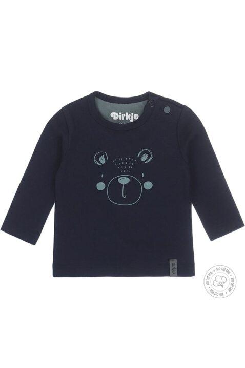 Baby Sweatshirt Langarmshirt mit Bären-Print in dunkelblau aus Bio-Baumwolle von Dirkje - Vorderansicht