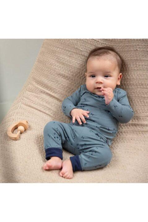 Baby Jogginghose und Sweatshirt in grün mit blauem Bären-Aufdruck für Jungen in Bio Baumwolle - Tiermotive von Dirkje - Babyphoto