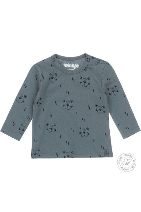 Babyshirt Kinderpullover Rundhals aus Bio-Baumwolle OEKO-TEX in grün mit blauen Bären-Muster für Jungen von Dirkje - Vorderansicht