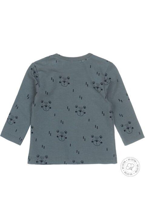Babyshirt Langarmshirt in grün mit blauem Bären-Print & Druckknöpfen - hochwertig aus Bio-Baumwolle von Dirkje - Rückansicht