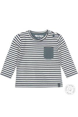 Dirkje Baby Langarmshirt Sweatshirt mit Rundhals & Druckknöpfen – blau-weiß gestreift mit grüner Brusttasche Bio baumwolle- Vorderansicht