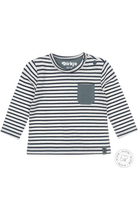 Babyshirt Kinderpullover langarm mit Rundhals & aufgenähter Tasche aus hochwertiger Bio-Baumwolle - blauweiß gestreiftes Jungen Sweatshirt Dirkje - Vorderansicht