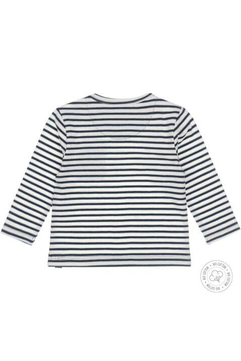 Babyshirt langarm Kinderpulli mit Rundhals & aufgenähter Tasche - Dirkje Sweatshirt blau-weiß gestreift für Jungen - Rückansicht