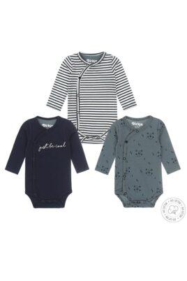 Baby Wickelbody 3er Set Langarmbody mit seitlicher Druckknopfleiste aus weicher Bio-Baumwolle – Dirkje Langarmbodys in blau, grün + gestreift – Vorderansicht