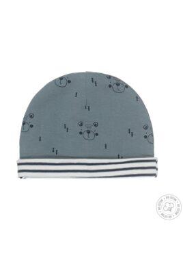 Baby Mütze Wendemütze mit Umschlag mit Bärenprint & Streifenlook aus weicher Bio-Baumwolle grün – Dirkje Jungen Mütze – Vorderansicht erste Seite