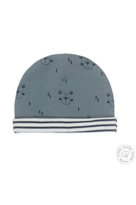 Dirkje Babymütze wendbar aus Bio-Baumwolle mit zwei Designs - Bärenprint & Streifenlook in grün & blau-weiß für Jungen - Vorderansicht erste Seite