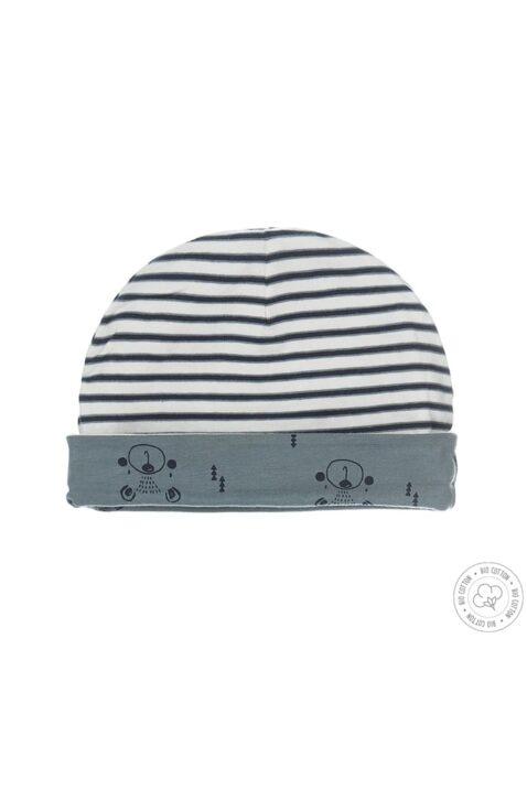 Dirkje Baumwollmütze Baby blau-weiß gestreift & mit Bärenprint mit Umschlag - wendbar - Vorderansicht zweite Seite