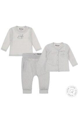 Babyset Jogginganzug dreiteilig mit Cardigan, Schlupfhose & Langarmshirt grau gemustert mit Aufdruck – Dirkje Baby Sweatanzug unisex – Vorderansicht