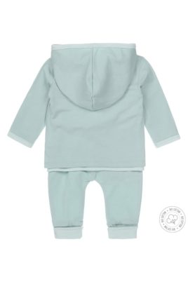 Dirkje Babyset 3er Set mit Babyjacke mit Kapuze - Streifen Langarmshirt mit Print - Sweathose mit gestreiften Bündchen Bio-Baumwolle in mintgrün - Rückansicht