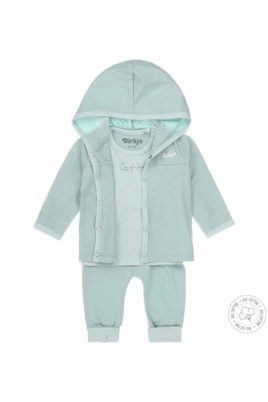 Babyset Sweatanzug dreiteilig mit Kapuzenjacke, Langarmshirt im Streifenlook mit Print & Leggings aus weicher Bio-Baumwolle – Dirkje 3er Set mintgrün für Jungen & Mädchen – Vorderansicht