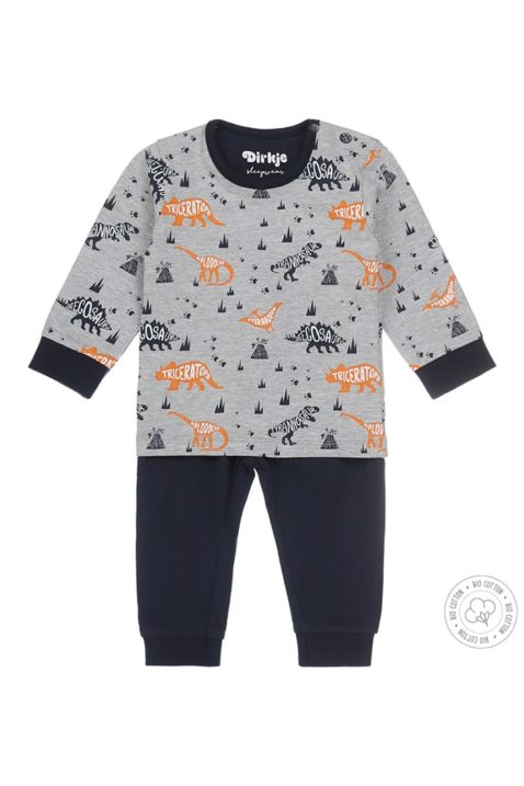 Baby Kinder Schlafanzug Pyjama in grau & blau mit Dino Print in langarm aus hochwertigem Bio-Baumwollmix - Dirkje Jungen Schlafanzug - Vorderansicht