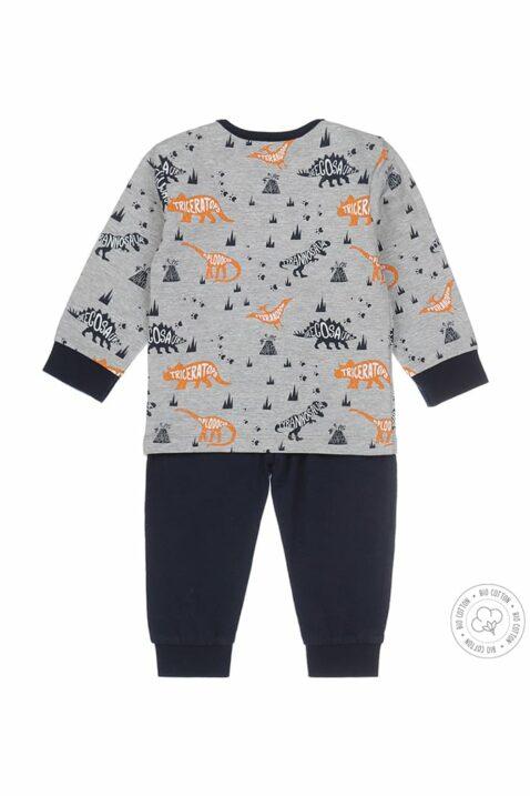Baby Kinder Schlafanzug mit Langarmoberteil mit Dino-Print & Schlafhose in marine - Dirkje Pyjama Schlafset für Jungen - mehrfarbig - Rückansicht