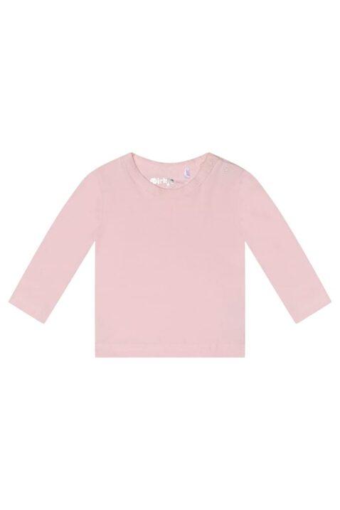 Baby Kindershirt Longsleeve aus weicher Baumwolle mit Rundhalsausschnitt - Dirkje Basic Oberteil in rosa - Vorderansicht