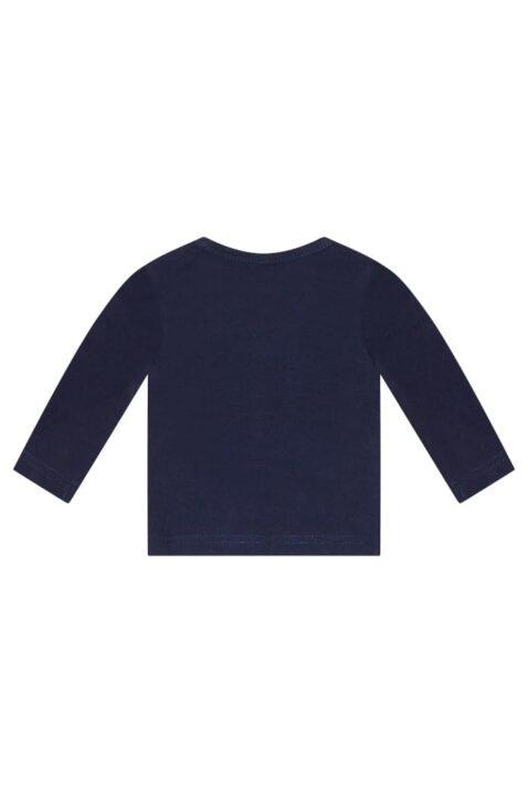 Dirkje Babyshirt Rundhals mit langarm & Druckknöpfen in navy blau - Kinder Basicshirt Langarmshirt - unisex - Rückansicht
