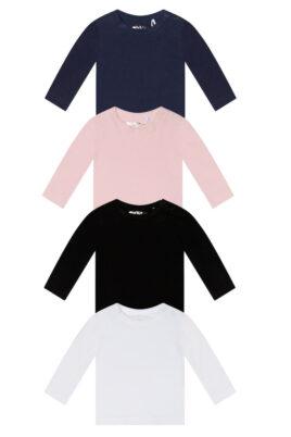 Dirkje Baby Basic-Shirt in drei verschiedenen Farben in rosa, schwarz, weiß & blau in langarm mit Rundhals Kinder Langarmoberteil- Vorderansicht alle Farben