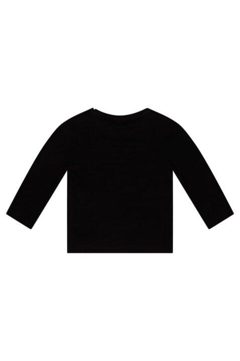 Baby Kindershirt Rundhalsshirt in langarm aus weicher Baumwolle unisex in schwarz - Rückansicht