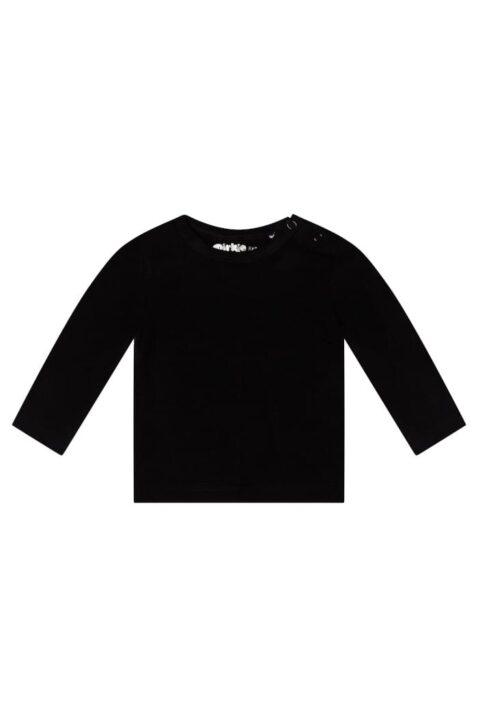 Kinder Langarmshirt mit Rundhalsausschnitt & Druckknöpfen aus weichem Baumwollmix - Dirkje Babyshirt Basic für Jungen & Mädchen in schwarz - Vorderansicht