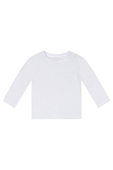 Baby Oberteil Kinder Loongsleeve Basic von Dirkje langarm mit Rundhals & Druckknöpfen - unisex in weiß - Vorderansicht