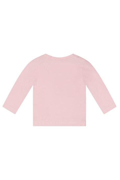 Baby Basic Rundhals Oberteil in langarm mit Knopfleiste aus Baumwollmix in rosa - Dirkje Basic Babyshirt Kindershirt - Rückansicht