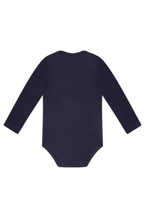 Baby Baumwollbody langarm aus weichem Baumwollmix für Jungen & Mädchen - Basic Langarmbody von Dirkje in dunkelblau - Rückansicht