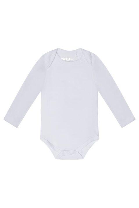Baby Body langarm aus weicher Baumwolle für Jungen & Mädchen - Dirkje Baumwollbody in weiß - Vorderansicht