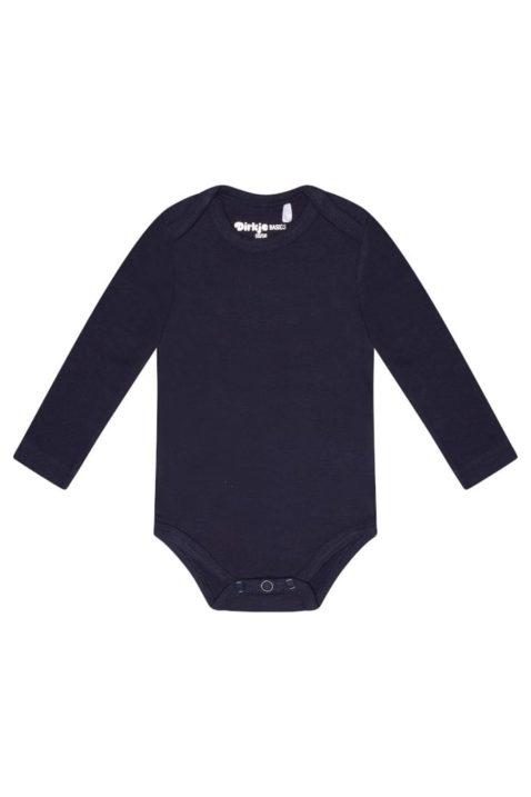Baby Baumwollbody langarm mit Druckknöpfen im Schritt aus hochwertigem Baumwollmix - Langarmbody unisex navy von Dirkje - Vorderansicht