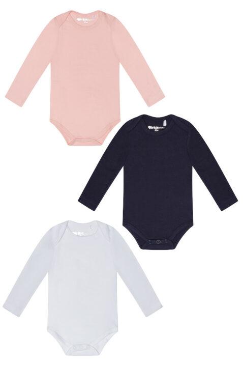 Baby Body Baumwollbody langarm mit Rundhals aus weicher Baumwolle in rosa, weiß oder blau - Langarmbody unisex von Dirkje - Vorderansicht alle Farben