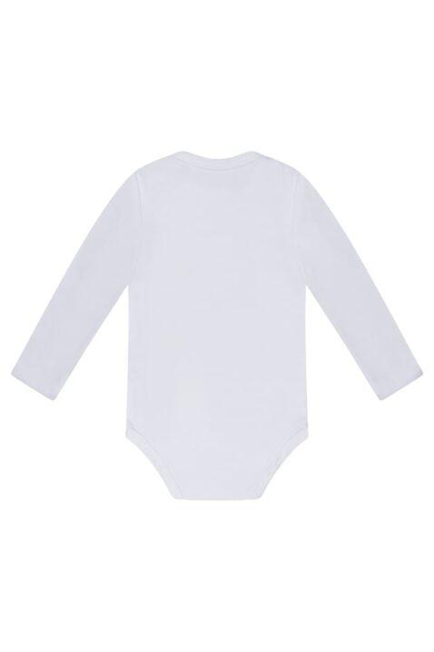 Baby Basic Langarmbody mit Rundhals & Knopfleiste im Schritt aus Baumwoll-Mix - Dirkje Baby Body unisex im weiß – Rückansicht