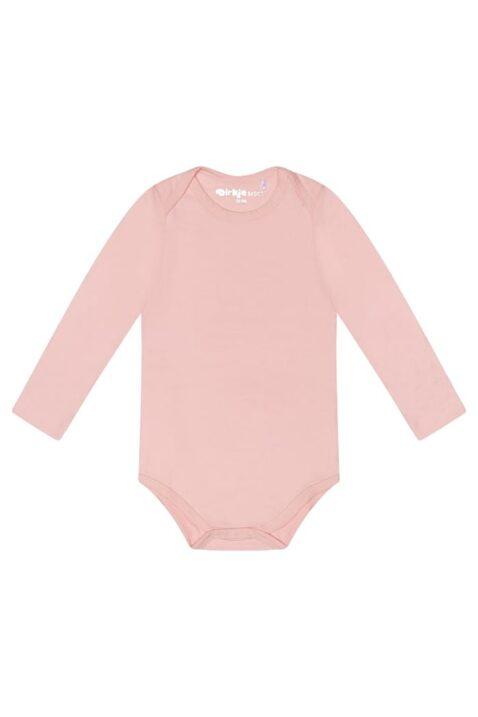 Baby Langarmbody aus hochwertigem Baumwollmix mit Druckknöpfe im Schritt für Mädchen - Dirkje Baumwollbody langarm in rosa - Vorderansicht
