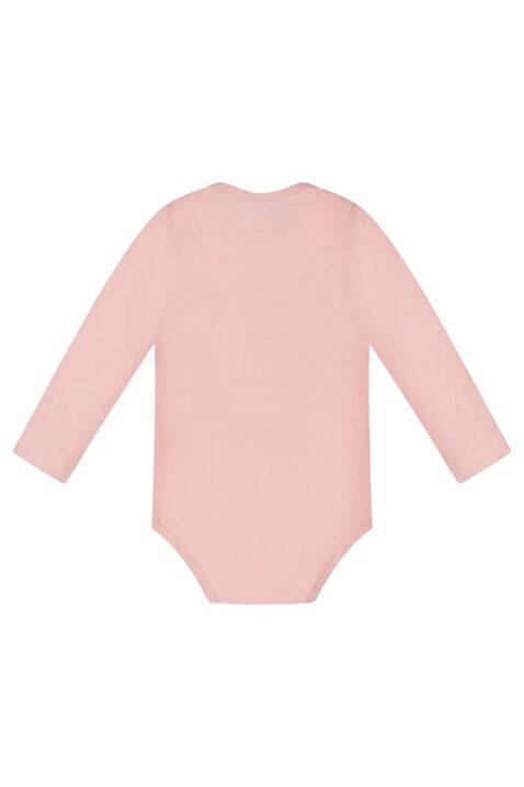 Basic Langarmbody Baby mit Druckknöpfen im Schritt & Rundhals - Baumwollbody langarm für Mädchen von Dirkje - rosa - Rückansicht
