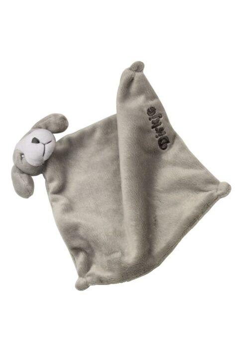 Baby Schnuffeltuch Kuscheltier Hund aus weichem Stoff in grau - Trosttuch von Dirkje unisex Babyspielzeug - Vorderansicht