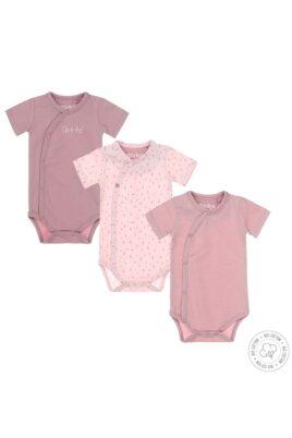 Dirkje Babyset Wickelbody kurzarm dreiteilig mit Muster, gestreift & mit Print für Mädchen in rosa – Vorderansicht