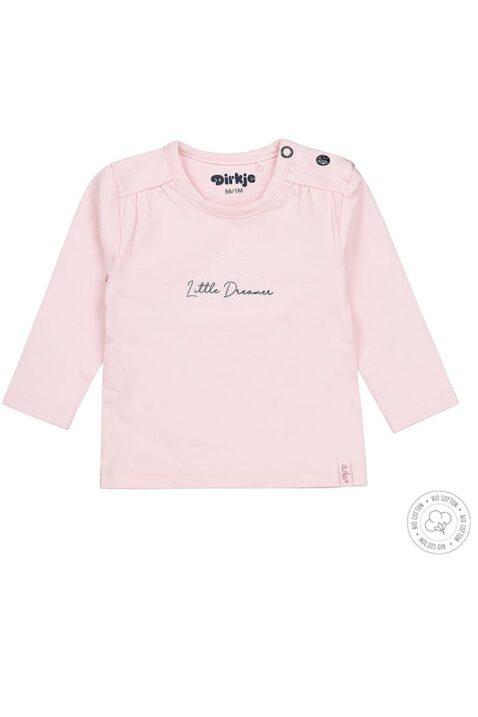 Baby Langarmshirt von Dirkje mit Druckknöpfen & Rundhalsausschnitt - Oberteil in rosa mit Little Dreamer Print für Mädchen - Vorderansicht