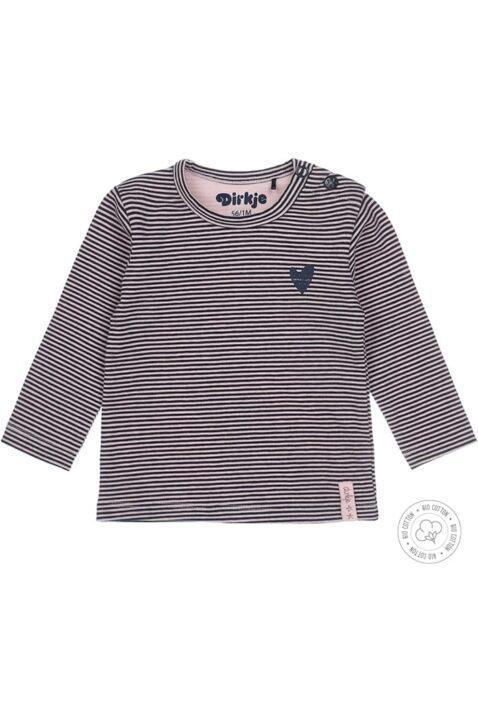 Baby Langarmshirt für Mädchen rosa-blau gestreift mit Herz-Print - Dirkje Kinder Mädchen Oberteil aus weicher Bio-Baumwolle - Vorderansicht