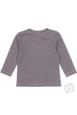 Baby Langarmshirt mit Druckknöpfen rosa-blau gestreift mit Herz-Aufdruck für Mädchen - Rückansicht
