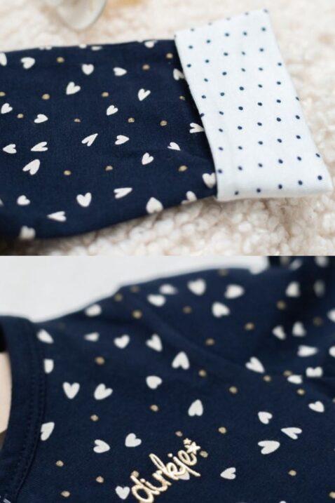 Baby Strampler Overall mit durchgehender Knopfleiste - Mädchen Schlafoverall gemustert von Dirkje - navy - Detailansicht