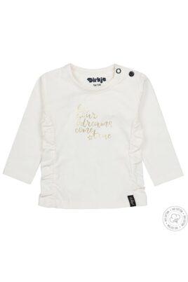 Dirkje Baby Langarmshirt mit Rüschen für Mädchen – Oberteil in weiß mit goldenem Aufdruck – Vorderansicht