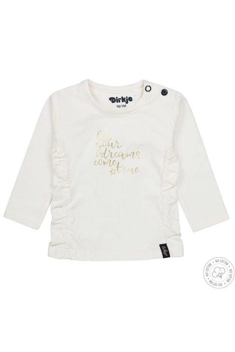 Baby Rundhalsshirt langarm aus weicher Bio Baumwolle in weiß mit Print - Baby Langarmshirt für Mädchen von Dirkje - Vorderansicht