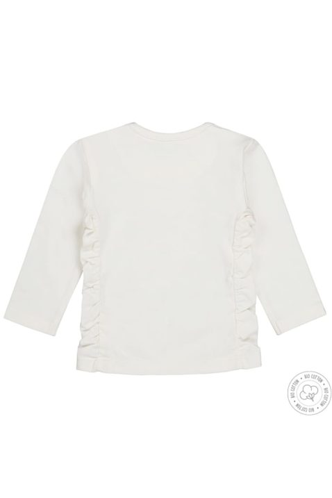 Baby Langarmshirt mit Rundhalsausschnitt in offwhite mit goldenem Print & Rüschen - Sweatshirt für Mädchen von Dirkje - Rückansicht