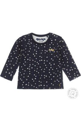 Dirkje Baby Langarmshirt mit Rundhalsausschnitt gemustert – Babyshirt mit Herzen und Punkten dunkelblau für Mädchen – Vorderansicht