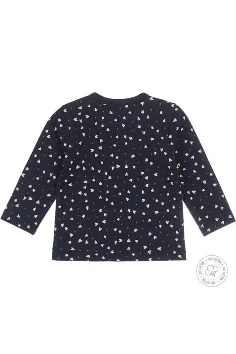 Baby Langarmshirt für Mädchen aus weicher Bio-Baumwolle mit Druckknöpfen - Rundhalsshirt gemustert navy von Dirkje - Rückansicht