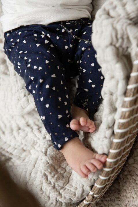Baby Kinderhose Leggings mit Komfortbund gemustert aus Bio-Baumwolle - Mädchen Leggings von Dirkje gemustert - dunkelblau - Detailansicht