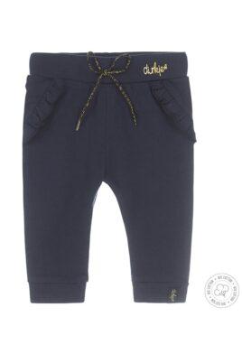 Dirkje Baby Sweathose Jogginghose mit Rüschen in dunkelblau aus weicher Bio-Baumwolle für Mädchen – Vorderansicht