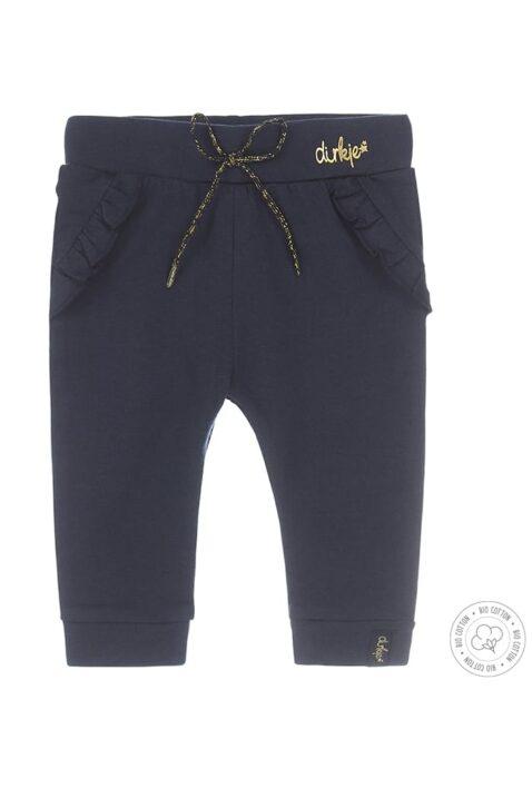 Baby Sweathose dunkelblau mit Rüschen & goldenen Akzenten aus hochwertiger Bio-Baumwolle - Schlupfhose dunkelblau für Mädchen von Dirkje - Vorderansicht