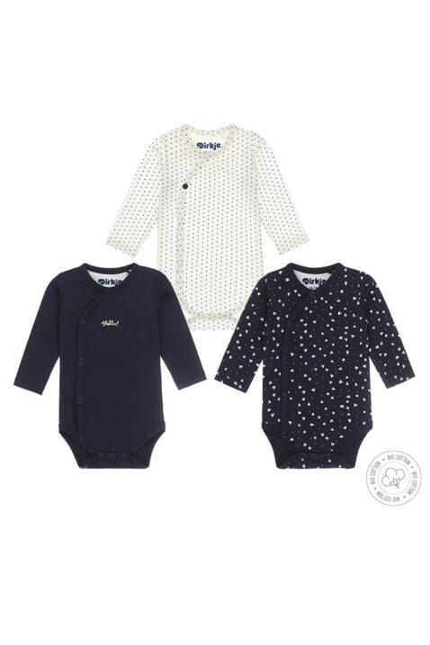 Baby Langarmbody Set mit Druckknöpfen aus weicher Bio-Baumwolle gemustert - Mädchen Wickelbody 3er Set von Dirkje - Vorderansicht alle Bodys