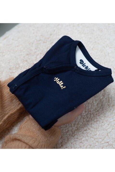Baby Langarmbody Wickelbody mit Druckknöpfen - Body dunkelblau mit goldenem Print für Mädchen von Dirkje - Detailansicht